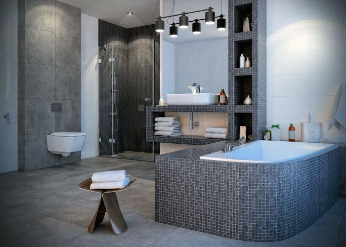 Aranżacja łazienki z zastosowaniem płyty budowlanej BOTAMENT® BP (po przyklejeniu płytek) fot.: Botament