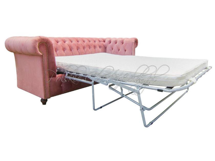 Sofa Chesterfield z funkcją spania codziennego w welurze